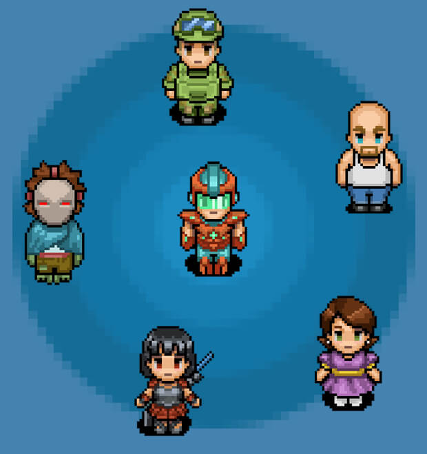 6 characters image