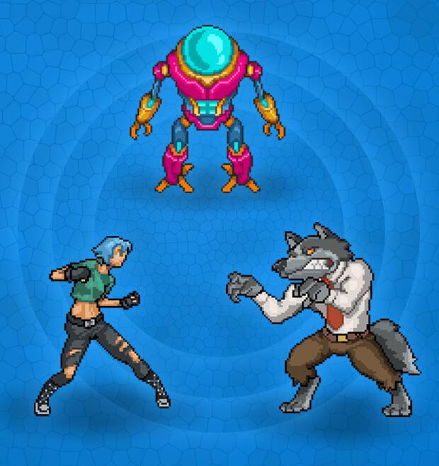 Fox, Robot and Girl character